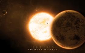 Обои звезда, планеты, спутники, солнечная корона