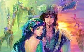 Картинка девушка, замок, корабль, крылья, шляпа, арт, ракушки