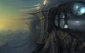 Обои гроза, горы, скалы, молнии, сооружение, арт, zester