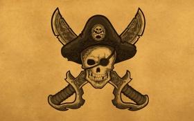 Обои череп, голова, шляпа, пират, скелет, повязка, мечи