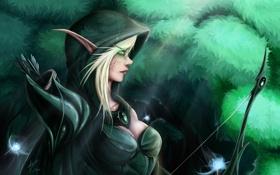 Обои лес, огни, лук, WoW, World of Warcraft, эльфийка