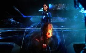 Обои космос, будущее, женщина, игра, корабль, shepard, mass effect 3