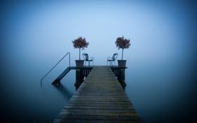 Обои мост, озеро, рай, кресла