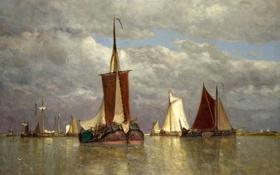 Картинка море, небо, облака, пейзаж, лодка, картина, парус