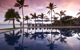 Картинка бассейн, двое, вечер, пальмы, океан