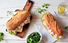 Картинка bun, помидор, ветчина, булочки, зелень, хлеб, сыр