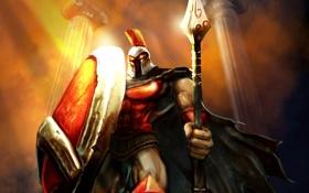 Обои league of legends, warrior, pantheon, helmet
