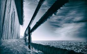 Картинка лёд, мост, море