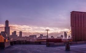 Обои небо, рассвет, здания, небоскребы, панорама, USA, америка