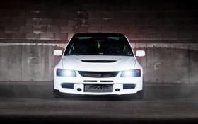 Картинка белый, блики, тени, Mitsubishi, Lancer, white, Evolution