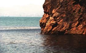 Картинка Корабль, Пейзаж, Растение, Море, Скала