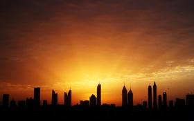 Картинка небо, лучи, свет, птицы, дома, утро, Дубай