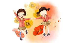 Обои радость, цветы, девочки, рисунок, смех, юбочки