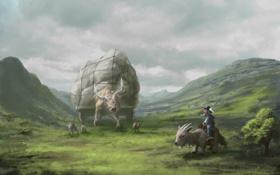 Обои животные, трава, горы, путешественник, арт