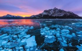 Картинка горы, озеро, лёд, вечер, Канада, Альберта, бульбы