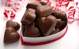 Обои шоколад, конфеты, сердечки, сладости, вкусно
