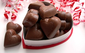 Картинка шоколад, конфеты, сердечки, сладости, вкусно