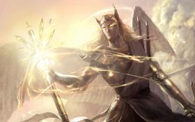 Картинка оружие, магия, крылья, ангел, меч, арт, посох