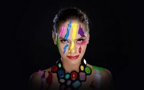 Картинка девушка, фон, краски