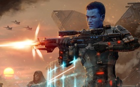 Картинка оружие, звездные войны, Star wars, the old republic, синий человек
