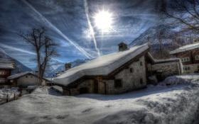 Обои зима, горы, дом, утро, городок