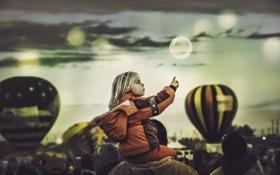 Картинка девочка, праздник, шары, шарики