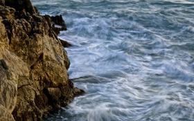 Картинка море, волны, вода, синий, камни, скалы, берег