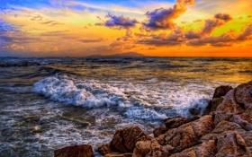Обои море, волны, небо, облака, природа