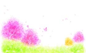 Обои трава, деревья, бабочки, цветы, лепестки