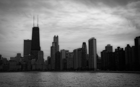Обои вода, город, небоскребы, Чикаго, dark, Иллинойс, сша