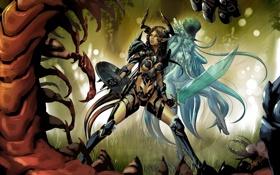 Картинка лес, гусеница, оружие, девушки, монстр, жук, меч
