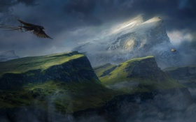 Обои облака, птица, дирижабль, туман, каньон, desktopography, горы
