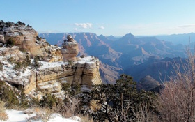 Картинка зима, снег, камень, США, Гранд-Каньон, Grand Canyon, сланцы