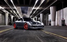 Обои серый, 911, Porsche, красные, диски, порше, вид спереди