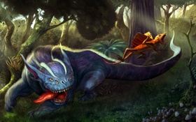 Обои лес, хищник, арт, бег, существа, охота