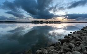 Картинка пейзаж, ночь, природа, озеро