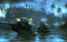 Обои дождь, болото, солдаты, медаль за отвагу, Medal of Honor Warfighter