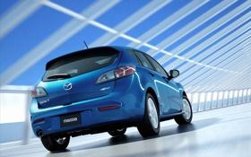 Картинка машина, синий, автомобиль, мазда, hatchback, mazda 3