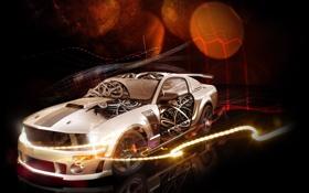 Обои Mustang, Ford, арт, Форд, Мустанг, art, передок
