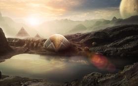 Обои озеро, планеты, пирамиды, странник