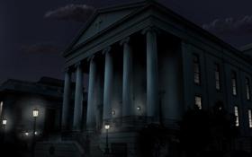Обои колонны, здание, ночь, фонари, свет