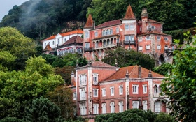 Обои деревья, горы, дома, Португалия, дворцы, Sintra