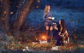 Обои осень, природа, девушки, книги