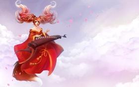 Картинка облака, уши, хвост, девушка, в красном, музыкальный инструмент, лепестки