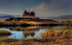 Обои небо, горы, брызги, США, Невада, искусственный, гейзер