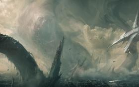 Обои город, скалы, корабль, монстр, арт, разрушение, арка
