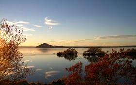 Обои небо, пейзаж, природа, озеро, гора, Исландия, Myvatn