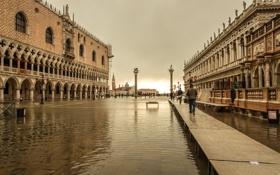 Обои небо, вода, наводнение, Италия, Венеция, колонна, дворец дожей