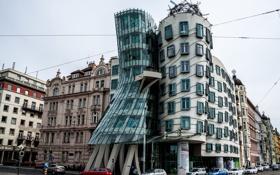 Обои улица, Прага, Чехия, танцующий дом, набережная Влтавы