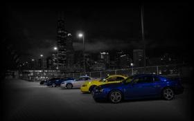 Картинка машины, ночь, город, черно белый, фонари, shelby